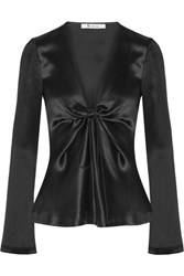 Alexander Wang T By Knotted Hammered Silk Satin Blouse Black