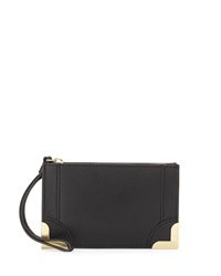 Foley Corinna Small Pebble Leather Wristlet Pouch Black
