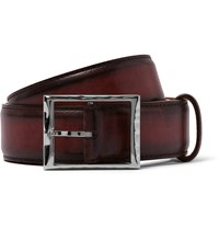 Berluti 3.5Cm Burgundy Burnished Leather Belt Burgundy