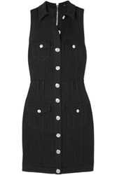 Balmain Button Embellished Denim Dress Black