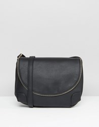Liquorish Shoulder Bag With Zip Detail Black