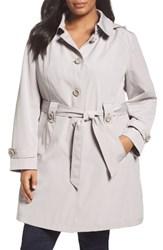 Gallery Plus Size Women's Silk Look Belted Trench Coat Whisper