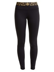 Versace Logo Print Performance Leggings Black Gold