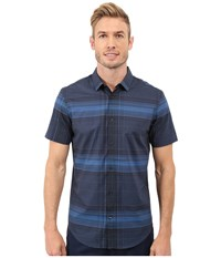 Calvin Klein Slim Fit Linear Plaid Short Sleeve Shirt Daphne Men's Short Sleeve Button Up Blue