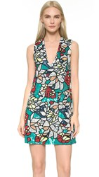 Alice Olivia Odell Embroidered Dress Teal Multi
