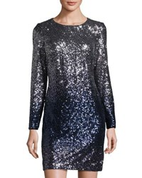 Maia Ombre Long Sleeve Sequined Dress Blue Silver