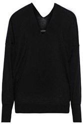 Tom Ford Woman Crepe De Chine Paneled Cashmere Sweater Black