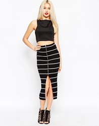 Asos Pencil Skirt With Zip Front In Mono Stripe Multi