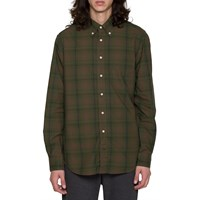Gtiman Vintage Olive Drab Check Button Down Shirt Green