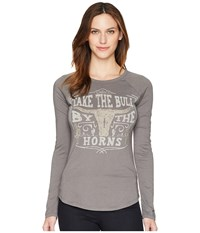 Rock And Roll Cowgirl Long Sleeve Tee 48T5555 Charcoal T Shirt Gray
