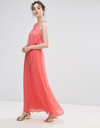 Oasis Ruffle Neck Pleated Maxi Dress Orange