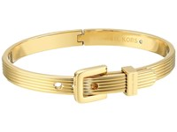 Michael Kors Heritage Ridged Texture Skinny Ridged Buckle Hinged Bangle Bracelet Gold Bracelet