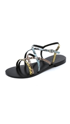 Studio Pollini Strappy Flat Sandals Sand Yellow Sky