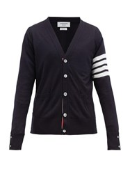 Thom Browne 4 Bar V Neck Merino Wool Cardigan Navy