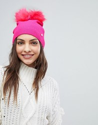 Ted Baker Double Pom Pom Hat Bright Pink