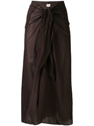 Diega Tie Waist Skirt Women Cotton M Brown