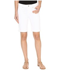 Liverpool Hayden Rolled Cuff Bermuda On Super Soft Stretch Denim In Bright White Bright White Women's Shorts
