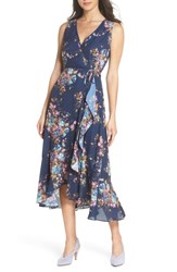 Charles Henry Floral Sleeveless Wrap Dress Navy Floral