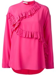 Cedric Charlier Ruffled Trim Blouse Pink Purple