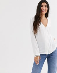 Pimkie Button Front V Neck Blouse In White