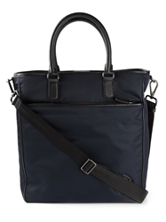 Giorgio Armani Leather Trim Tote Blue