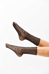 Out From Under Glitter Fishnet Crew Sock Black