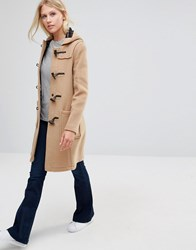 Gloverall Long Slim Duffle Coat In Camel Camel Brown