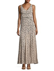 Vera Wang Fit And Flare Ankle Length Dress Grey Beige