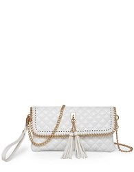 Sondra Roberts Quilted Chain Wristlet White