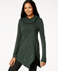 Ny Collection Cowl Neck Asymmetrical Tunic Sweater Pine Grove
