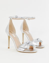 Miss Selfridge Heeled Sandals With Bow Detail In Silver