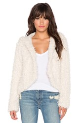 Free People Hooded Faux Fur Fluffy Coat Ivory