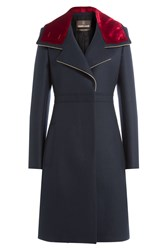 Roberto Cavalli Wool Coat With Velvet Blue