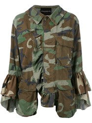 Erika Cavallini Dislocated Fastening Camouflage Jacket Women Cotton One Size Green