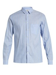 Acne Studios York Linen Blend Chambray Shirt Blue Multi