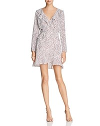 Lucy Paris Ruffled Printed Wrap Dress 100 Exclusive White Red