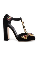 Dolce And Gabbana Jewel Embellished Velvet T Strap Heels In Black