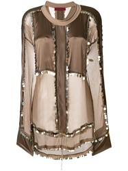 Di Liborio Embellished Sheer Panel Blouse Nude And Neutrals