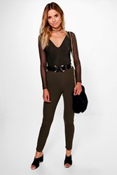 Boohoo Mesh Plunge Body And Skinny Trouser Co Ord Khaki