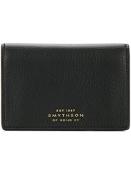 Smythson Snap Button Wallet Unisex Calf Leather Black