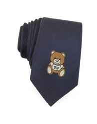 Moschino Teddy Bear Solid Silk Jacquard Narrow Tie Navy Blue
