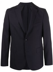 Officine Generale Fitted Single Breasted Blazer Blue