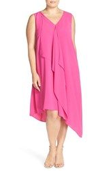 Adrianna Papell Plus Size Women's Sleeveless Asymmetrical Front Drape Crepe Shift Dress Hot Pink