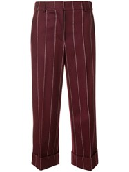 Thom Browne Shadow Stripe Flannel Sack Trousers Red