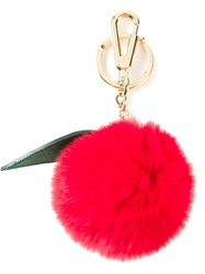 Dolce And Gabbana Apple Pom Pom Key Ring Red