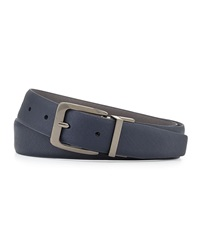 Neiman Marcus Saffiano Leather Reversible Belt Navy Gray