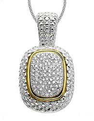 Lord And Taylor 14K Gold Sterling Silver Diamond Pave Necklace Silver Gold