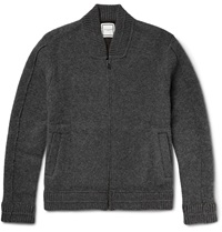 Wooyoungmi Zip Up Shawl Collar Boiled Cashmere Blend Cardigan Gray