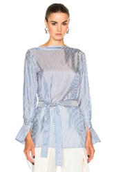 Calvin Klein Collection Keith Bis Boat Neck Belted Cuffed Shirt In Blue Stripes Blue Stripes