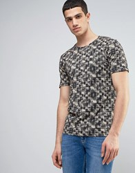 Only And Sons Fitted T Shirt With All Over Print Black